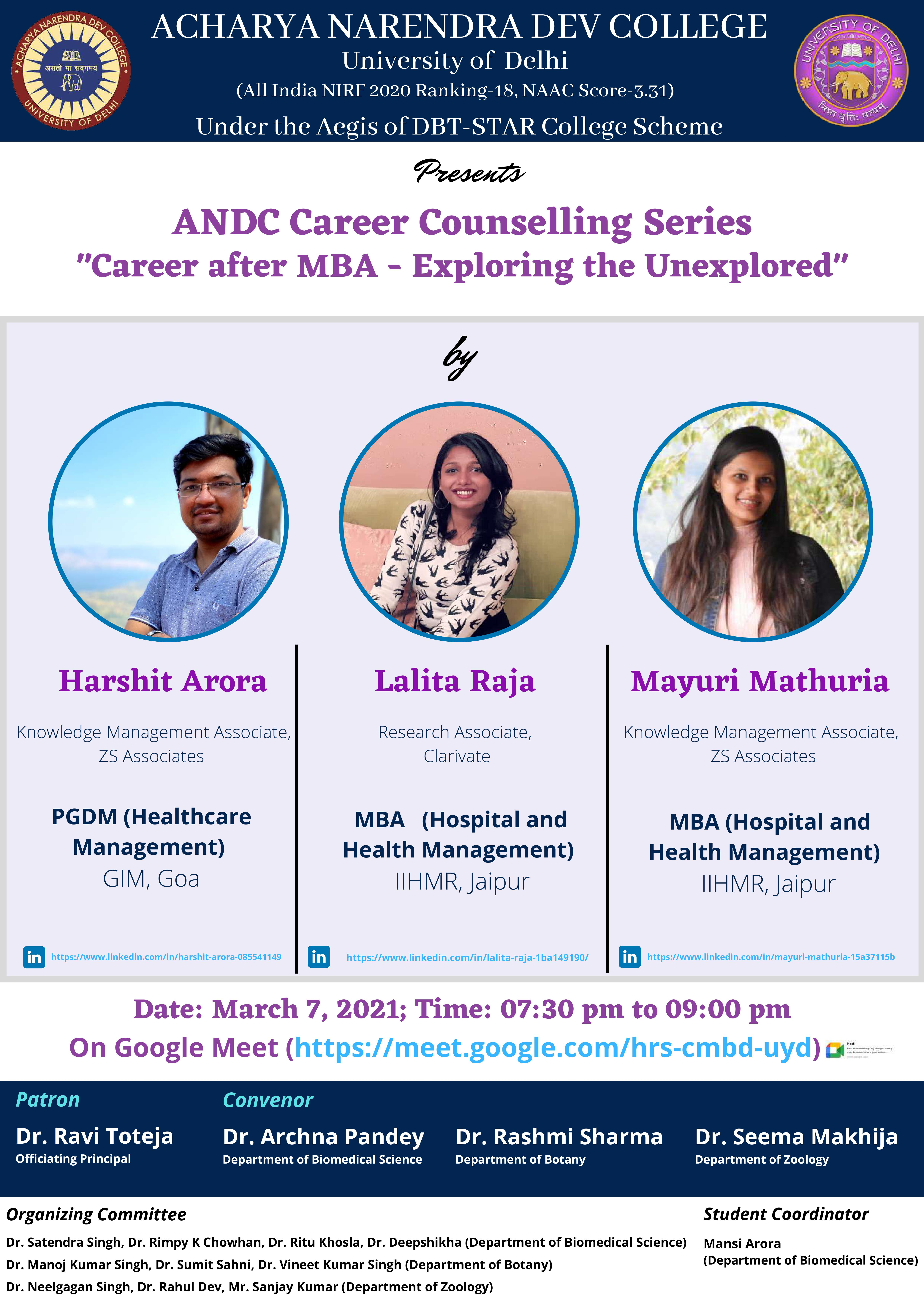 "ANDC Career Counselling Series by Harshit Arora Lalita Raja Mayuri Mathuria ""Career after MBA - Exploring the Unexplored"""